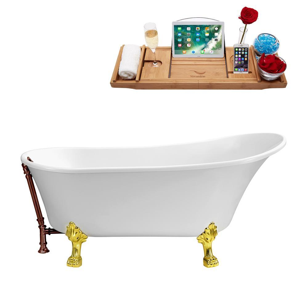 "55"" Streamline N343GLD-ORB Clawfoot Tub and Tray With External Drain"