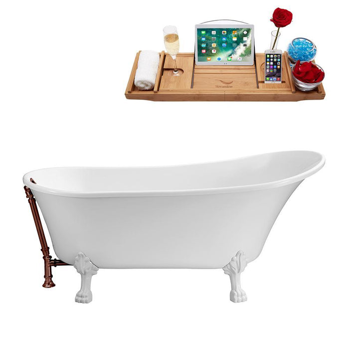 "55"" Streamline N343WH-ORB Clawfoot Tub and Tray With External Drain"