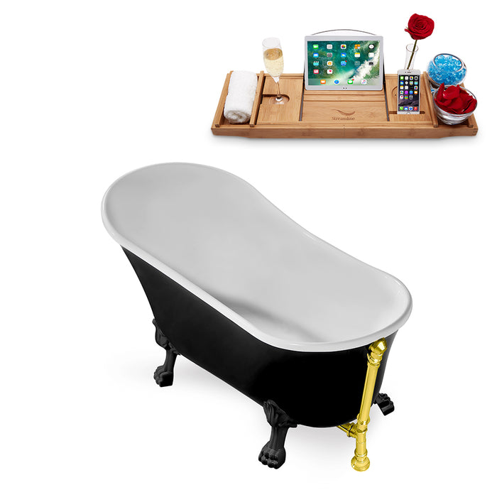 "59"" Streamline N344BL-GLD Clawfoot Tub and Tray With External Drain"