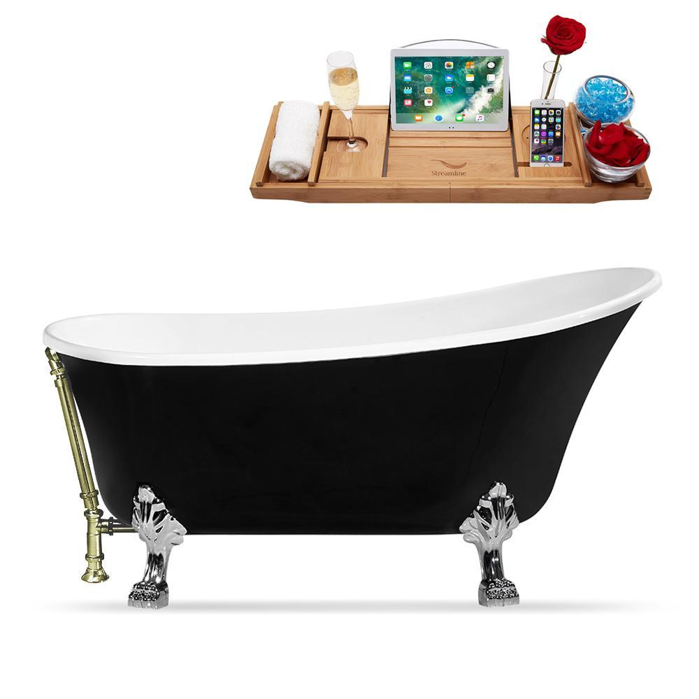 "59"" Streamline N344CH-BNK Clawfoot Tub and Tray With External Drain"
