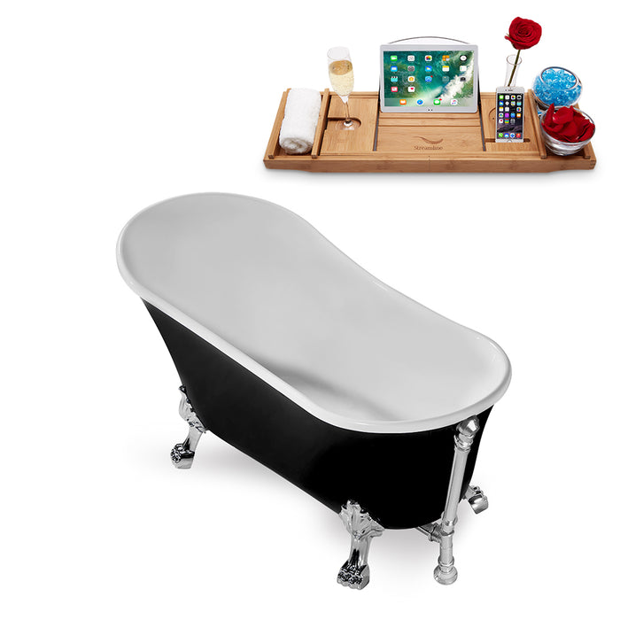 "59"" Streamline N344CH-CH Clawfoot Tub and Tray With External Drain"