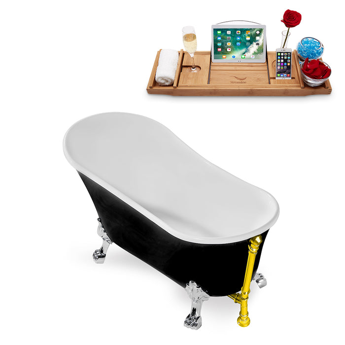 "59"" Streamline N344CH-GLD Clawfoot Tub and Tray With External Drain"