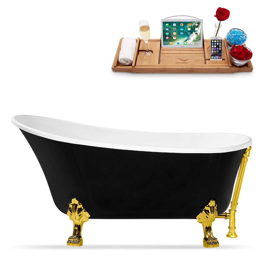 "59"" Streamline N344GLD-GLD Clawfoot Tub and Tray With External Drain"