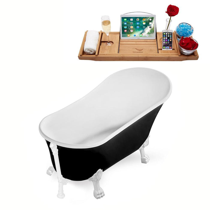 "59"" Streamline N344WH-WH Clawfoot Tub and Tray With External Drain"