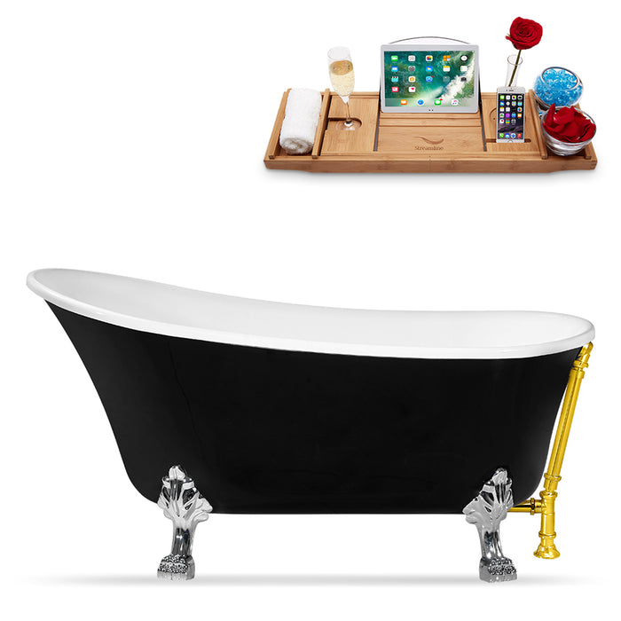 "67"" Streamline N345CH-GLD Clawfoot Tub and Tray With External Drain"
