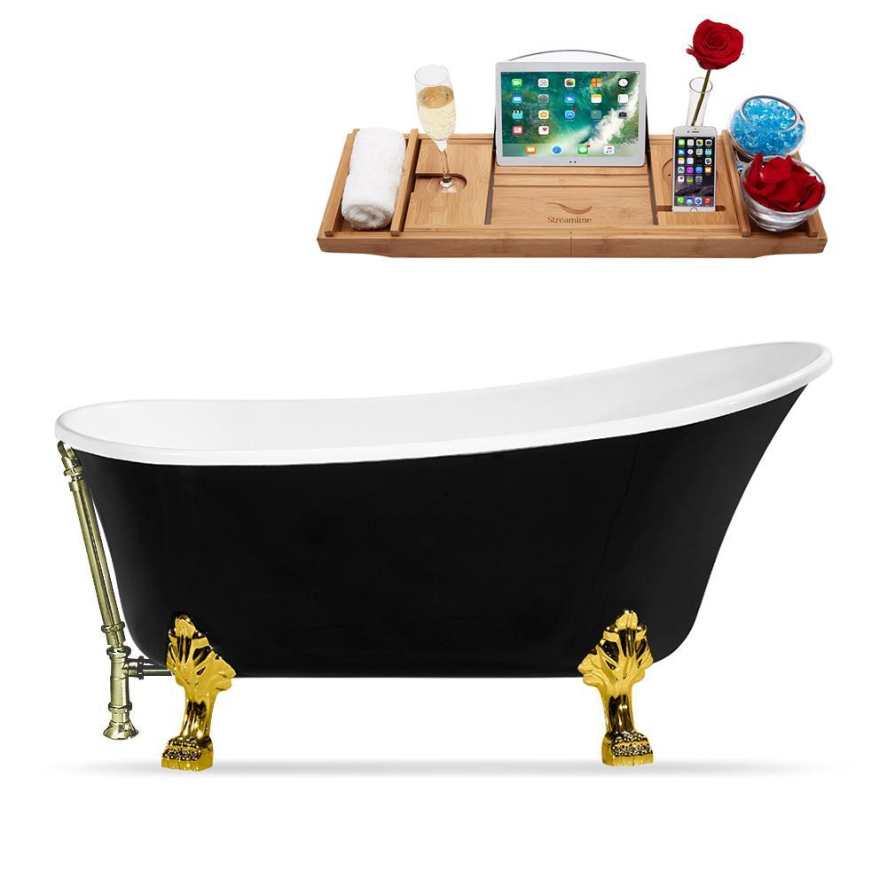 "67"" Streamline N345GLD-BNK Clawfoot Tub and Tray With External Drain"