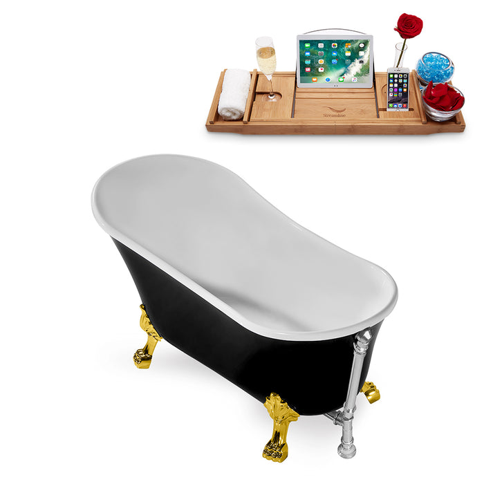"67"" Streamline N345GLD-CH Clawfoot Tub and Tray With External Drain"