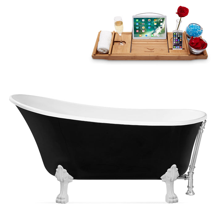 "67"" Streamline N345WH-CH Clawfoot Tub and Tray With External Drain"