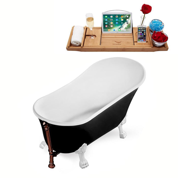 "67"" Streamline N345WH-ORB Clawfoot Tub and Tray With External Drain"