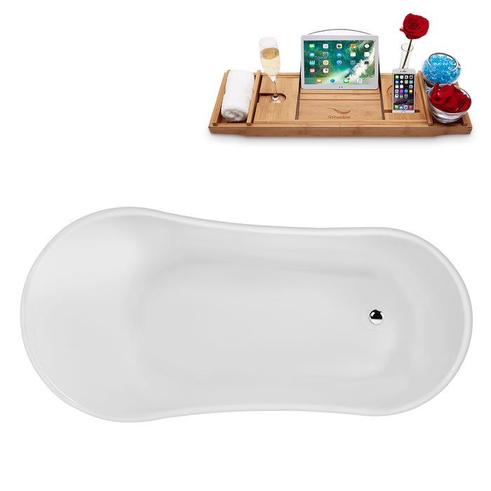 "59"" Streamline N347BL Clawfoot Tub and Tray With Internal Drain"