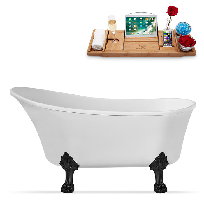 "67"" Streamline N349BL Clawfoot Tub and Tray With Internal Drain"