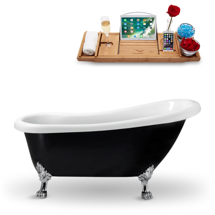 "61"" Streamline N481CH Clawfoot Tub and Tray With Internal Drain"
