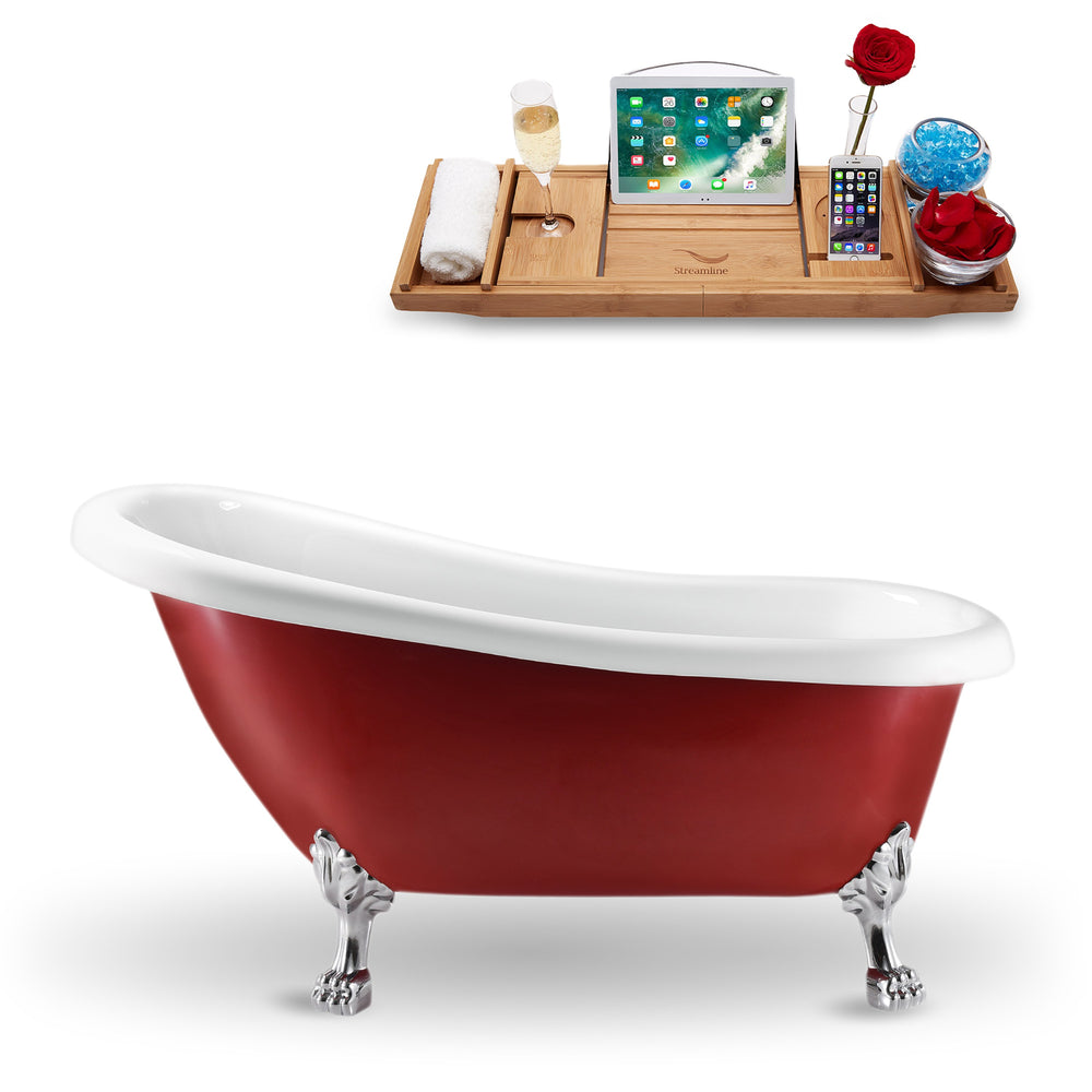 "61"" Streamline N482CH Clawfoot Tub and Tray With Internal Drain"