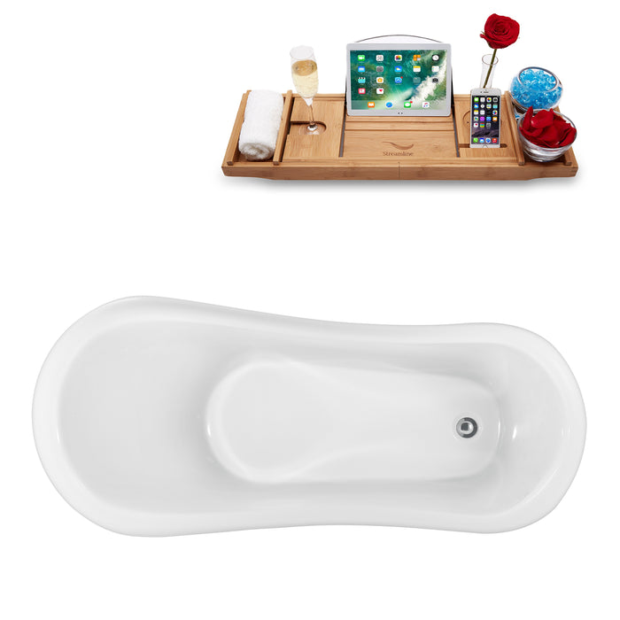 "61"" Streamline N482GLD Clawfoot Tub and Tray With Internal Drain"