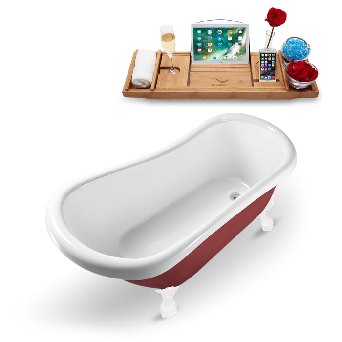 "61"" Streamline N482WH Clawfoot Tub and Tray With Internal Drain"