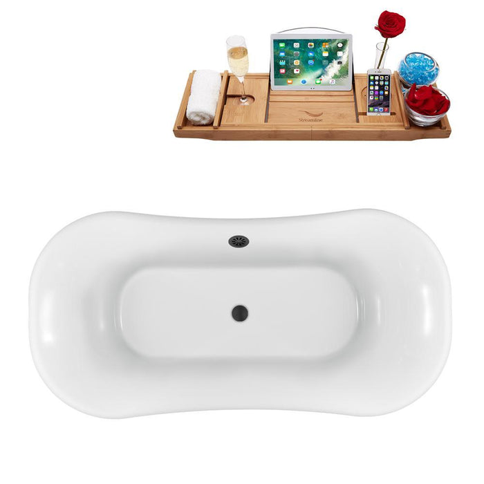 "68"" Streamline N861BL-BL Clawfoot Tub and Tray With External Drain"