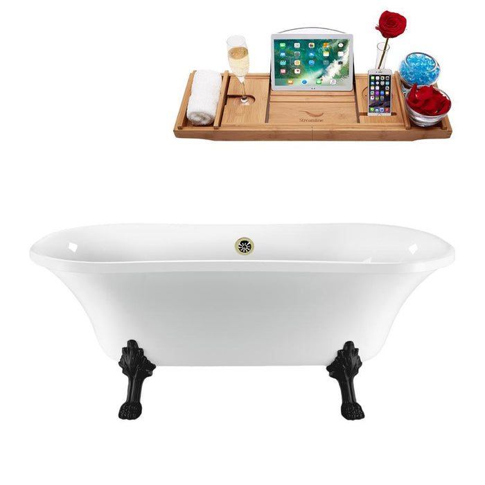 "68"" Streamline N861BL-BNK Clawfoot Tub and Tray With External Drain"