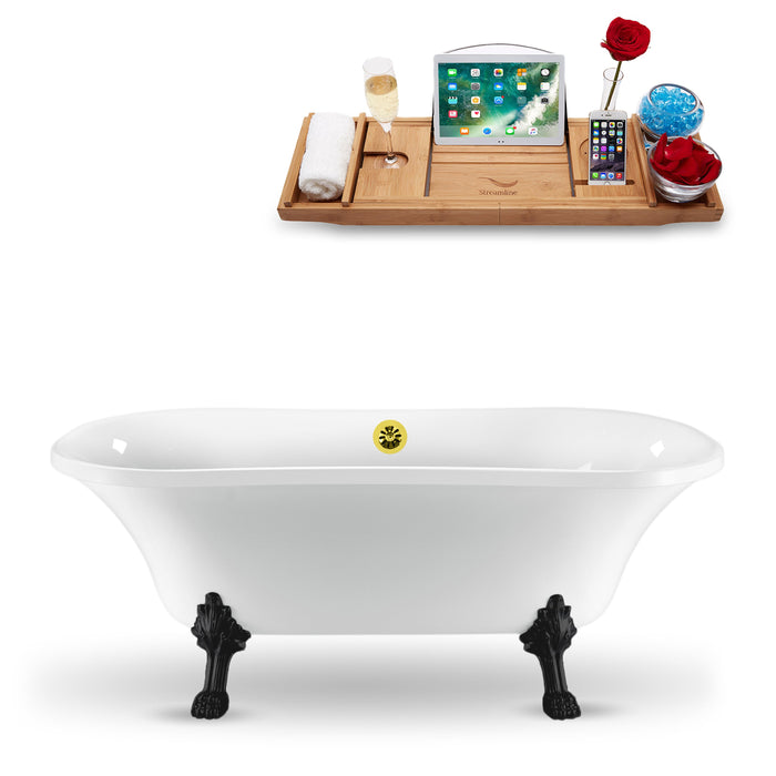 "68"" Streamline N861BL-GLD Clawfoot Tub and Tray With External Drain"