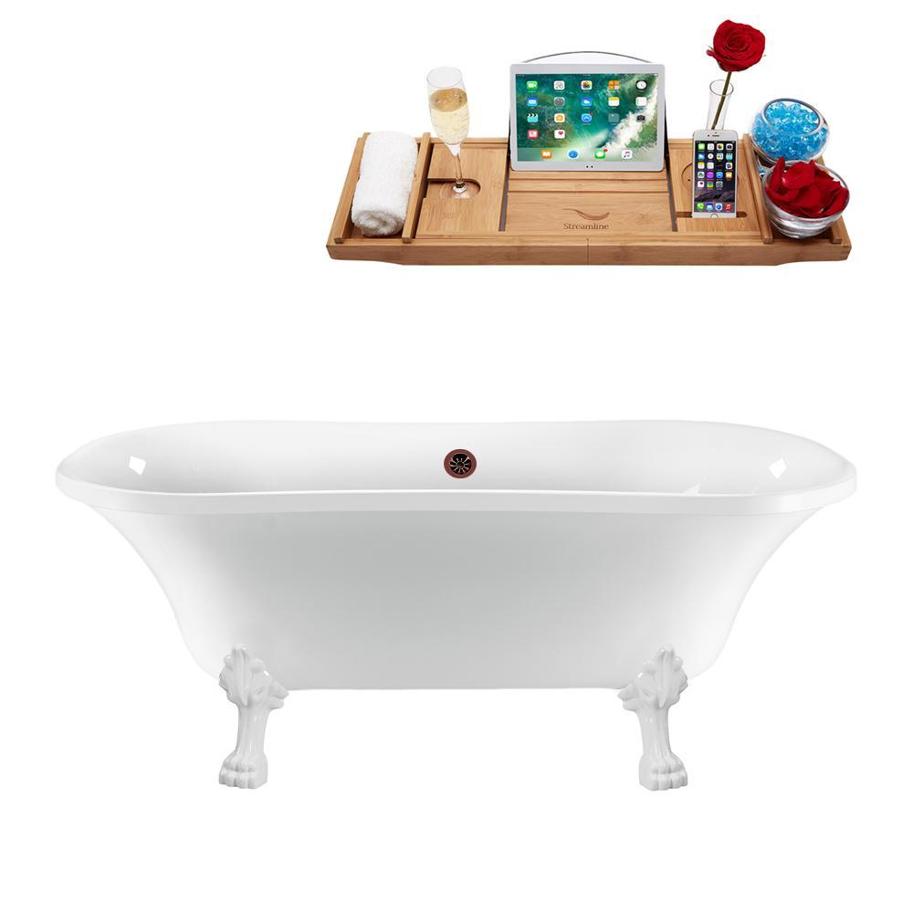 "68"" Streamline N861WH-ORB Clawfoot Tub and Tray With External Drain"