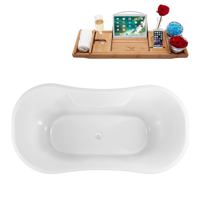 "60"" Streamline N900BL-WH Clawfoot Tub and Tray With External Drain"