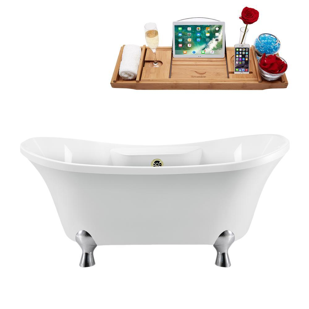 "60"" Streamline N900CH-BNK Clawfoot Tub and Tray With External Drain"
