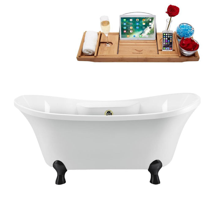 "68"" Streamline N901BL-BNK Clawfoot Tub and Tray With External Drain"