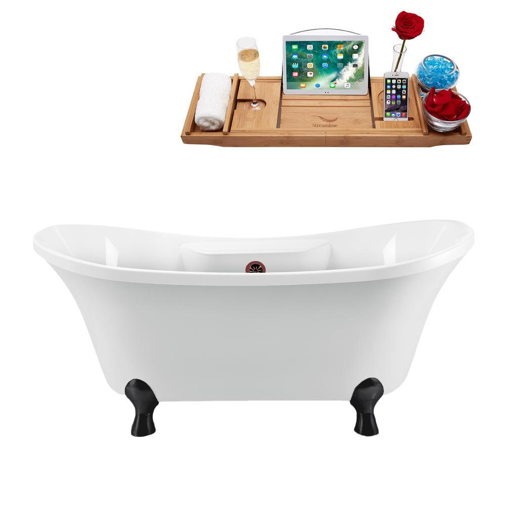 "68"" Streamline N901BL-ORB Clawfoot Tub and Tray With External Drain"