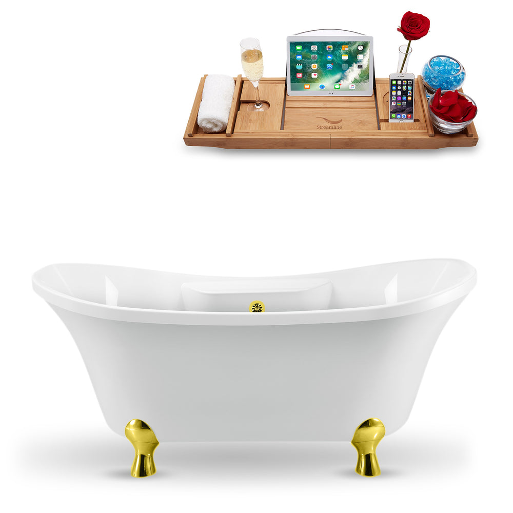 "68"" Streamline N901GLD-GLD Clawfoot Tub and Tray With External Drain"