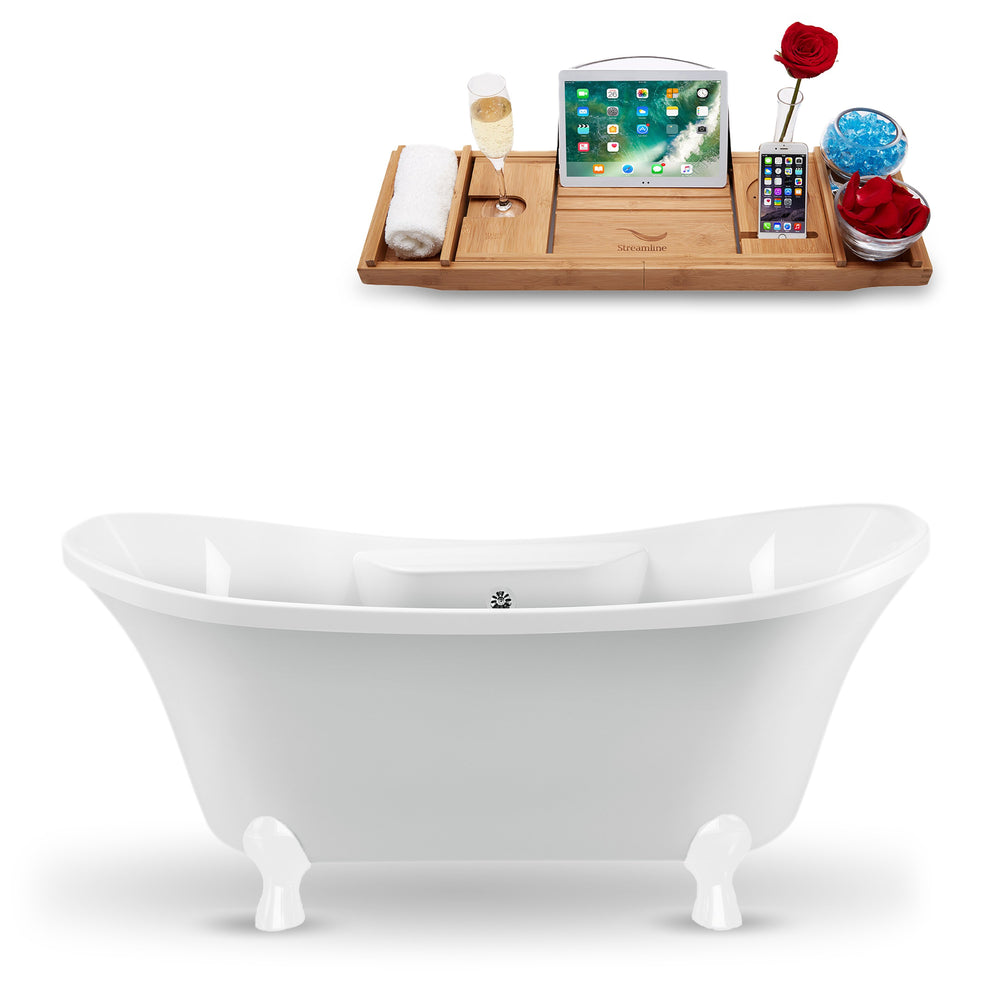 "68"" Streamline N901WH-CH Clawfoot Tub and Tray With External Drain"