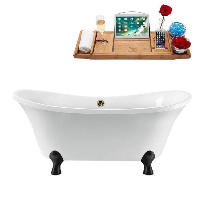 "60"" Streamline N920BL-BNK Clawfoot Tub and Tray With External Drain"