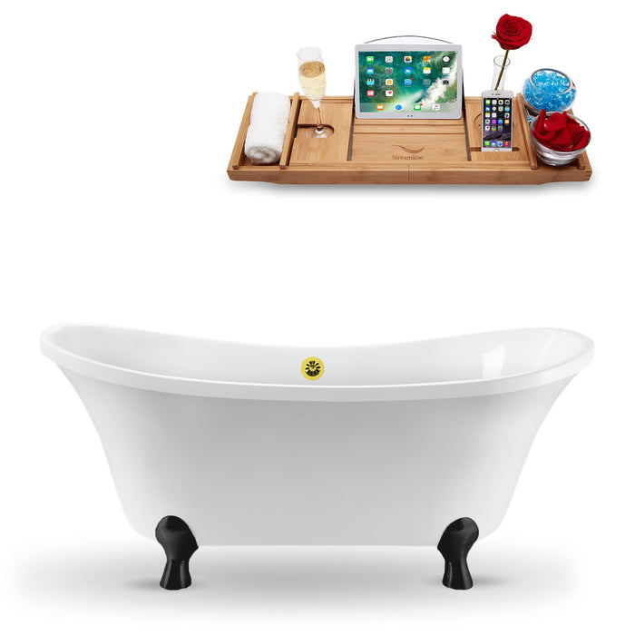 "60"" Streamline N920BL-GLD Clawfoot Tub and Tray With External Drain"