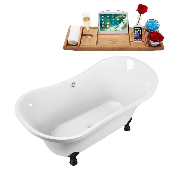 "60"" Streamline N920BL-WH Clawfoot Tub and Tray With External Drain"