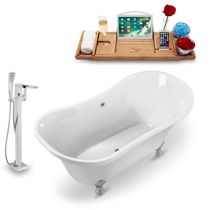 "Tub, Faucet and Tray Set Streamline 60"" Clawfoot NH920CH-CH-100"