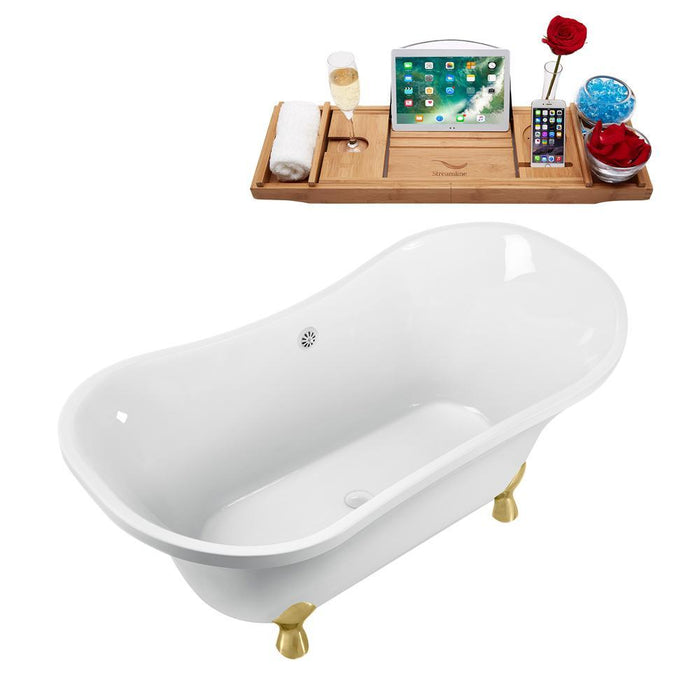 "60"" Streamline N920GLD-WH Clawfoot Tub and Tray With External Drain"