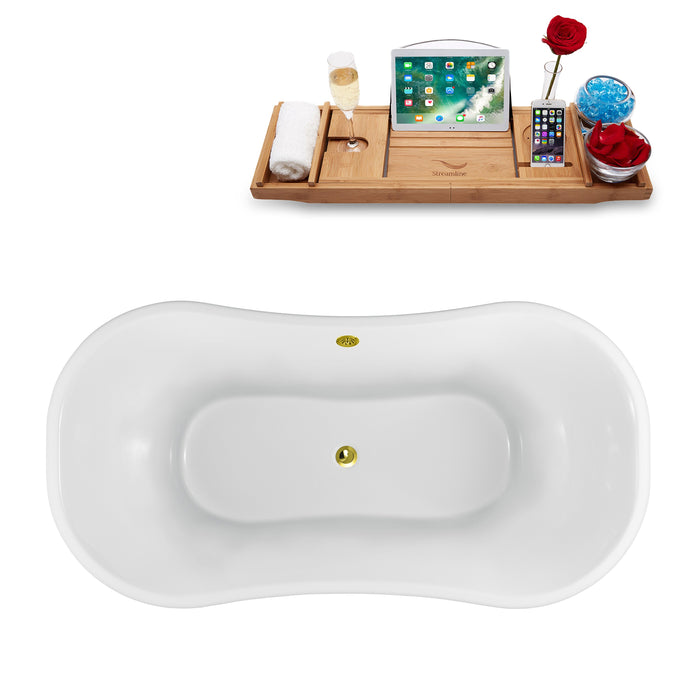 "60"" Streamline N920WH-GLD Clawfoot Tub and Tray With External Drain"