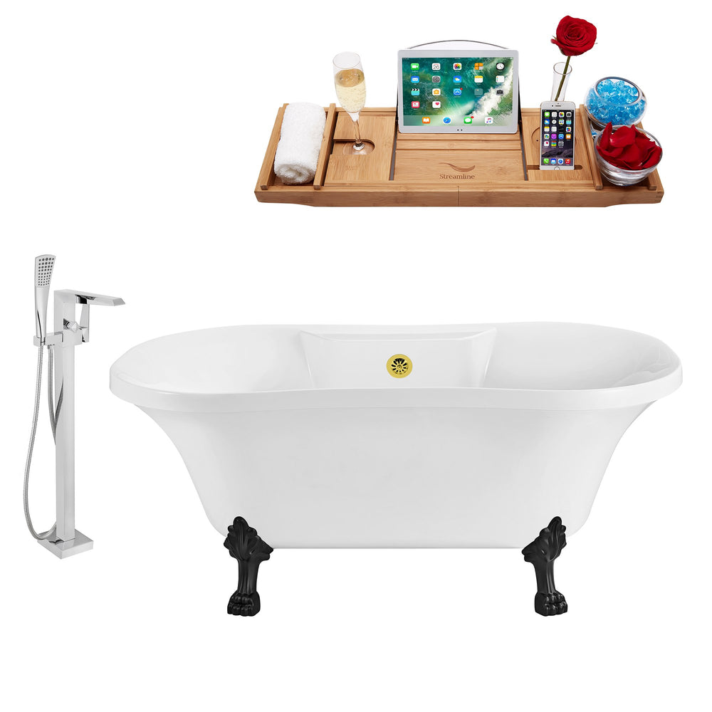 "Tub, Faucet and Tray Set Streamline 60"" Clawfoot NH100BL-GLD-100"