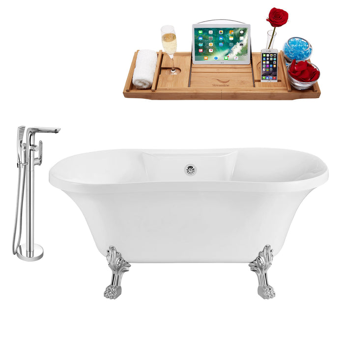 "Tub, Faucet and Tray Set Streamline 60"" Clawfoot NH100CH-CH-120"