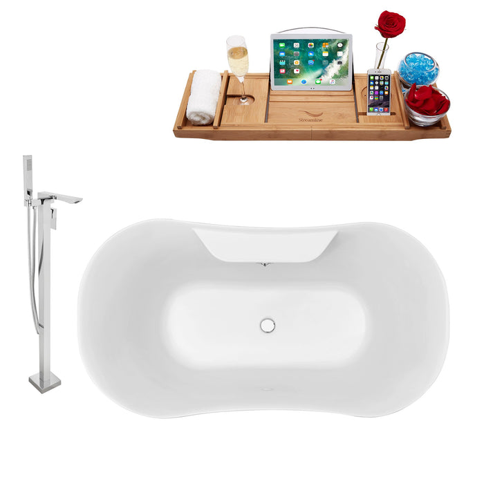 "Tub, Faucet and Tray Set Streamline 60"" Clawfoot NH100CH-CH-140"