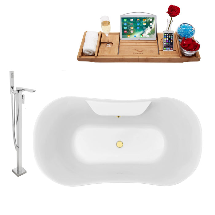 "Tub, Faucet and Tray Set Streamline 60"" Clawfoot NH100CH-GLD-140"