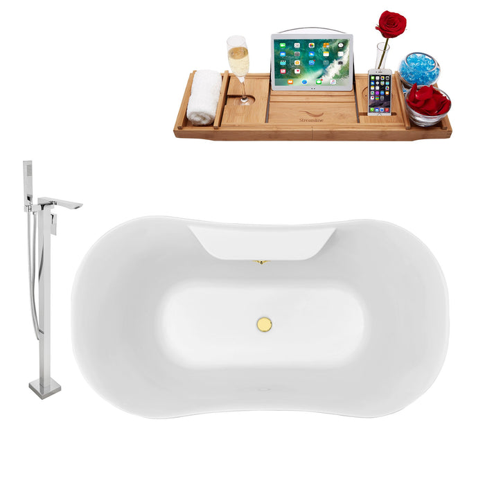 "Tub, Faucet and Tray Set Streamline 60"" Clawfoot NH100GLD-GLD-140"