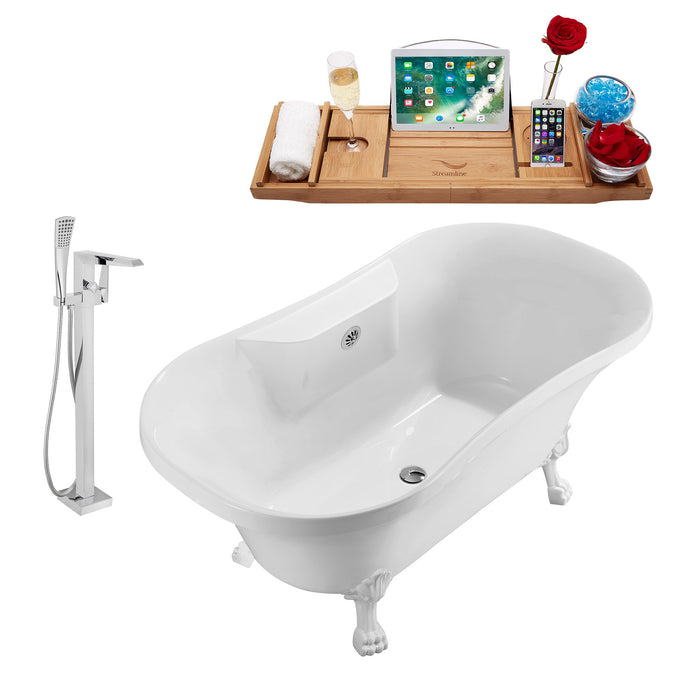 "Tub, Faucet and Tray Set Streamline 60"" Clawfoot NH100WH-CH-100"