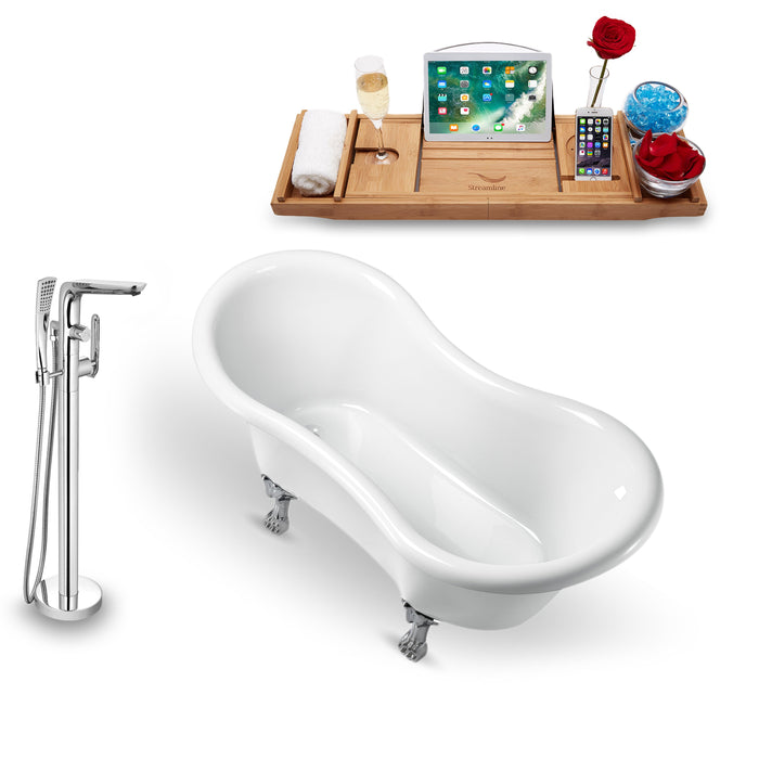 "Tub, Faucet and Tray Set Streamline 62"" Clawfoot NH1020CH-120"