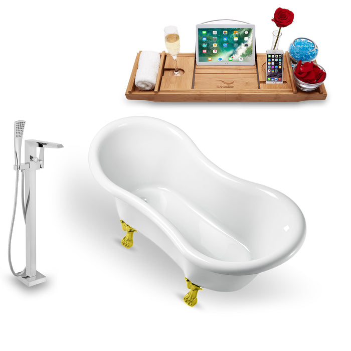 "Tub, Faucet and Tray Set Streamline 62"" Clawfoot NH1020GLD-100"