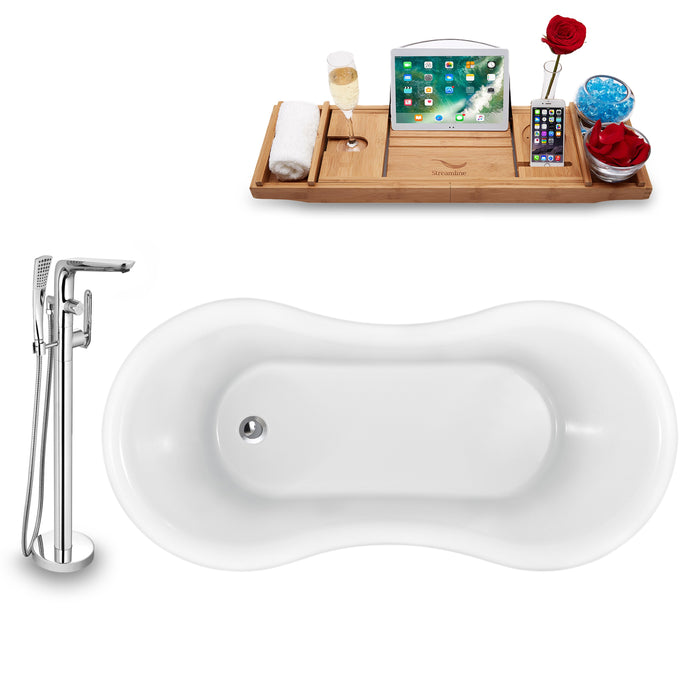 "Tub, Faucet and Tray Set Streamline 62"" Clawfoot NH1020GLD-120"