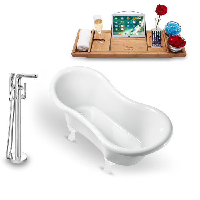 "Tub, Faucet and Tray Set Streamline 62"" Clawfoot NH1020WH-120"
