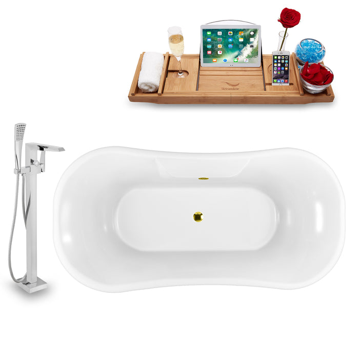 "Tub, Faucet and Tray Set Streamline 68"" Clawfoot NH103CH-GLD-100"