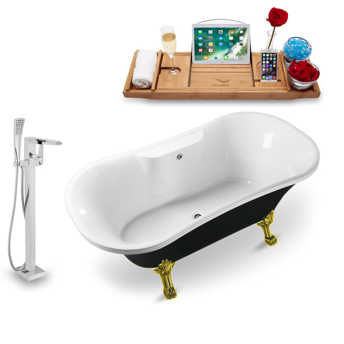 "Tub, Faucet and Tray Set Streamline 68"" Clawfoot NH103GLD-CH-100"