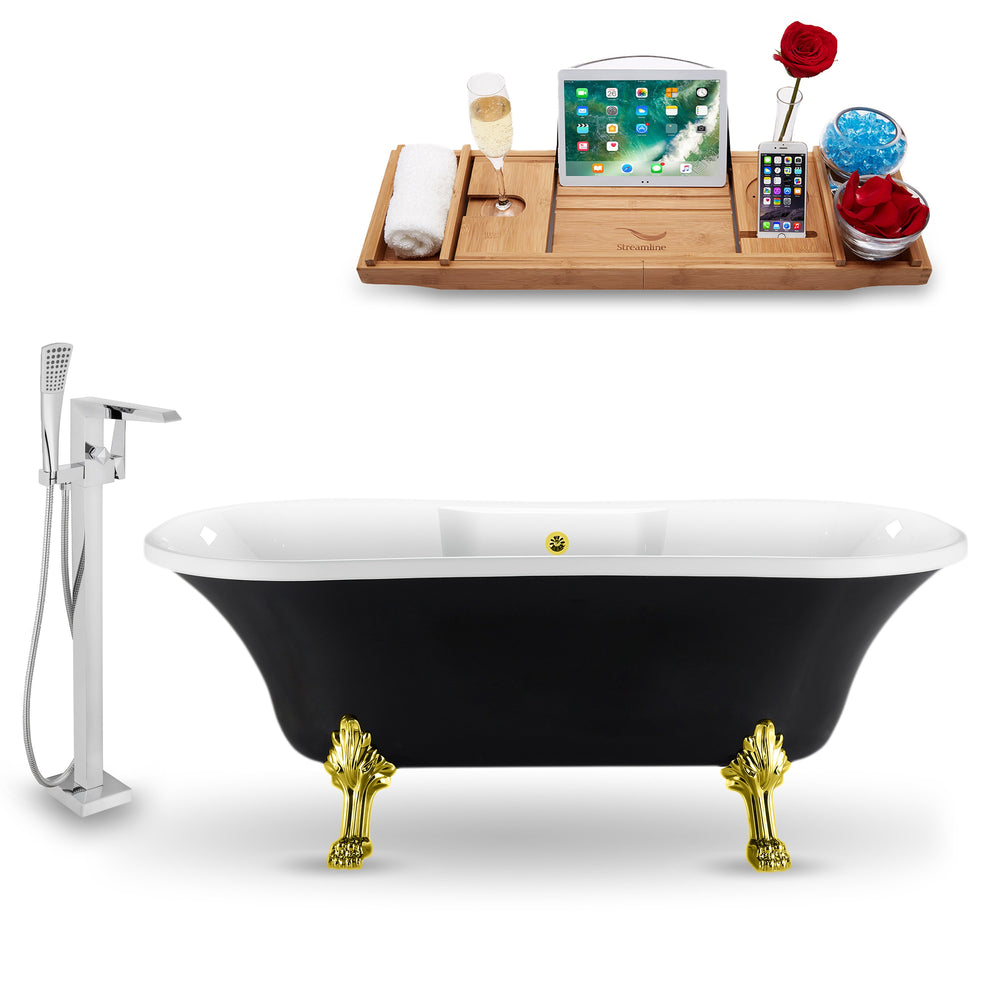 "Tub, Faucet and Tray Set Streamline 68"" Clawfoot NH103GLD-GLD-100"