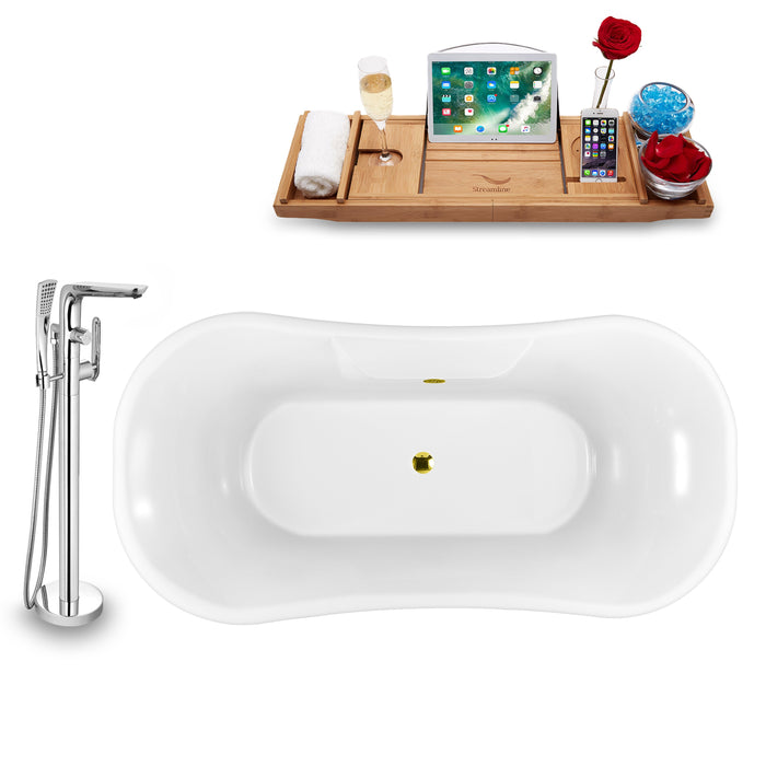 "Tub, Faucet and Tray Set Streamline 68"" Clawfoot NH103GLD-GLD-120"