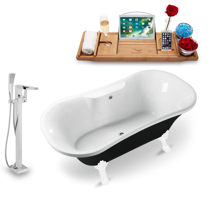 "Tub, Faucet and Tray Set Streamline 68"" Clawfoot NH103WH-CH-140"
